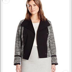 Calvin Klein Black & Gray Tweed Open Blazer 18W